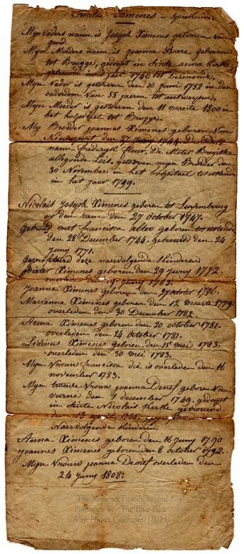 The Ximenes Family Record
